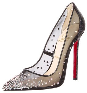 Christian Louboutin Multicolor Metallic Crystal Swarowski Embellished Textured Follies Strass Stiletto Pointed Toe 39 9 New Red Sole Lace Black, Silver Pumps