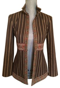 Nanette Lepore Floral Striped Brown Gold Green Blazer
