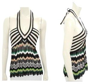 M Missoni Striped Halter Slimming Tie-back Top Black & Green