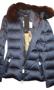 Burberry Burberry Brit Belted Down Jacket with Genuine Fox Fur Collar