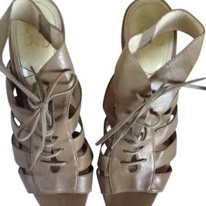 Joan & David Taupe & Olive Sandals