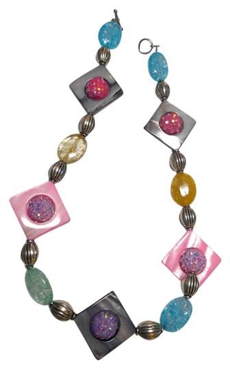 Preload https://item5.tradesy.com/images/pink-blue-silver-green-handmade-statement-shell-stone-a035-necklace-9968644-0-1.jpg?width=440&height=440