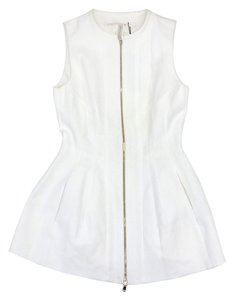 Schumacher White Front Zip Peplum Top