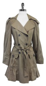 Nanette Lepore Tan Cotton Blend Trench Trench Coat