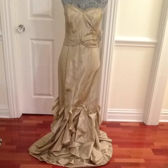 Badgley Mischka Dark Ivory Formal Bridesmaid/Mob Dress Size 6 (S)
