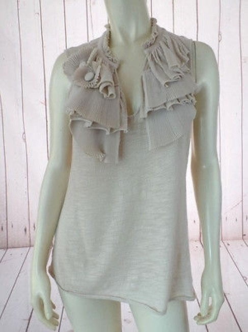 Preload https://item3.tradesy.com/images/ric-rac-anthropologie-top-beige-sheer-pullover-cotton-stretch-ruffle-decor-9970387-0-0.jpg?width=400&height=650