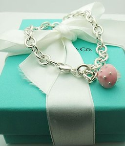Tiffany & Co. Tiffany,Co.,925,Sterling,Silver,Bracelet,Enamel,Pink,Cup,Cake,Charm