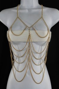 Women Gold Metal Body Chains Rib Wave Fashion Jewelry Harness Long Necklace