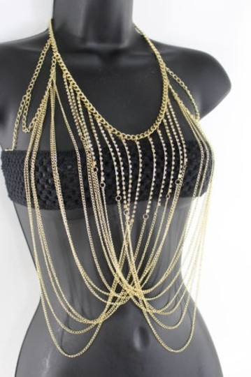 Other Women Gold Metal Full Body Chains Rhinestones Fashion Jewelry Harness Necklace