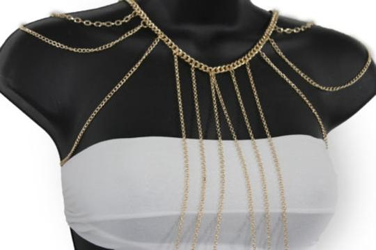 Other Women Gold Metal Full Body Thin Chain Fashion Jewelry Harness Wave Necklace