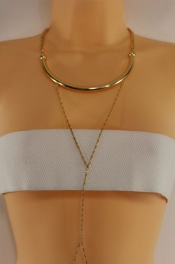 Other Women Gold Metal Body Thin Chain Fashion Jewelry Harness Choker Necklace Classic