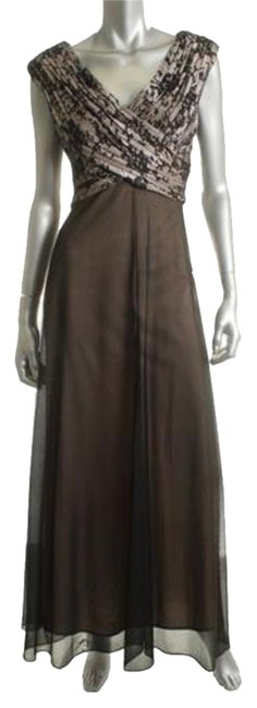 Item - Black/Nude Womens Pleated Sleeveless Full-length Gown New/Store Display. Ships In One Day. Long Formal Dress Size 12 (L)