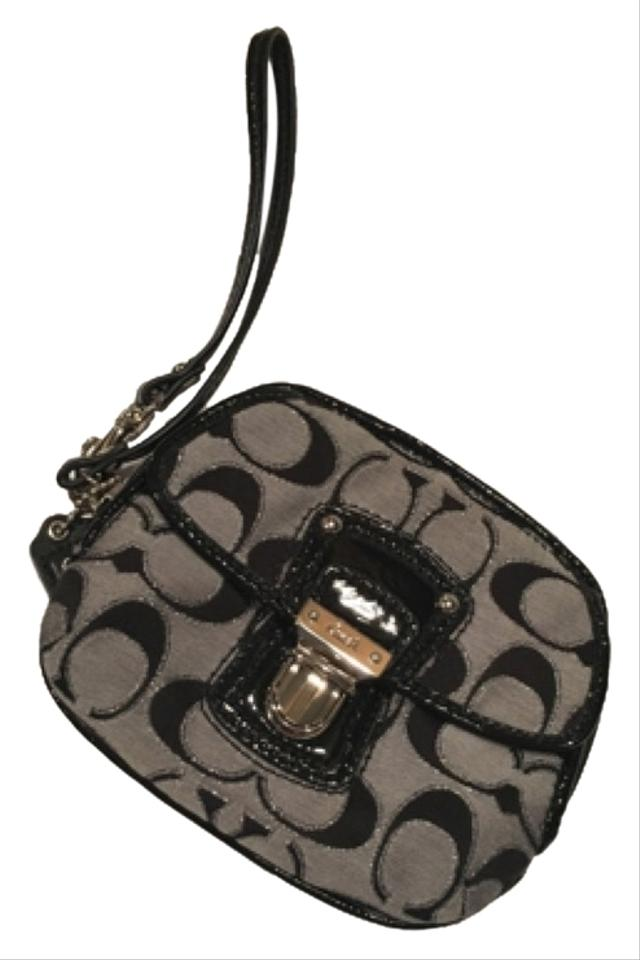 b3e0bc91954 Coach 47604 Poppy Signature Metallic Push Lock Black Patent Leather Canvas  Wristlet