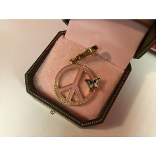 Juicy Couture NWT!! JUICY COUTURE ADORABLE PINK & GOLD PEACE SIGN CHARM with BEAUTIFUL BUTTERFLIES!!