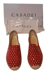 Casadei Renna Crystal Studded Espadrille Strawberry Flats