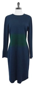 St. John Teal Green Long Sleeve Wool Blend Dress