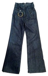 7 For All Mankind Wash High Waist Style #: U6008380s-380s High Waist Trouser/Wide Leg Jeans-Dark Rinse - item med img