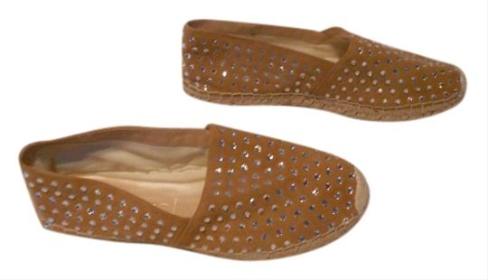 Casadei Crystal Studded Espadrille Brown Flats