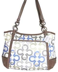 Coach Signature Satin Tote in Multicolor WHITE BLUE GRAY BROWN