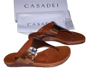 Casadei Candylux Jeweled Stunning Contoured Footbed Supports Foot Not Your Average Thong Bronze Sandals
