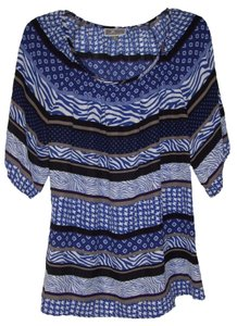 JM Collection Pullover Style Unlined Sheer Top Blue