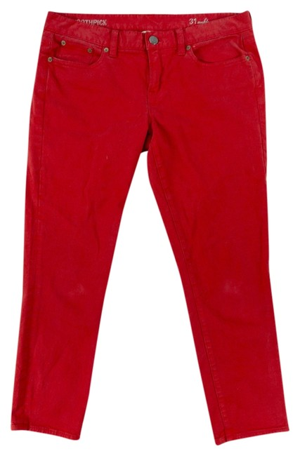 Item - Red Coated Toothpick Ankle Skinny Jeans Size 31 (6, M)