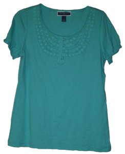 Karen Scott Elastic At Cuffs Scoop Neckline Crochet Details Cotton Pullover Style T Shirt TURQUOISE