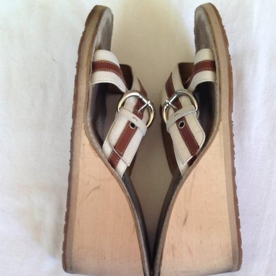 Coach Wedge Leather Brown & Creme Sandals