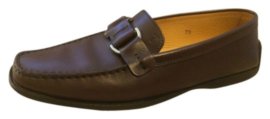 Tod's Leather Silver Hardware Detail Brown Formal