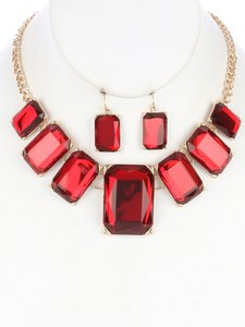Stone Bib Necklace and Earring Set - Red
