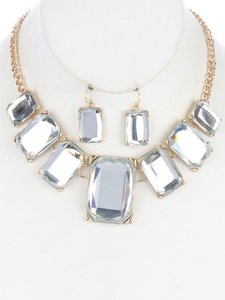 Other Stone Bib Necklace and Earring Set - Clear