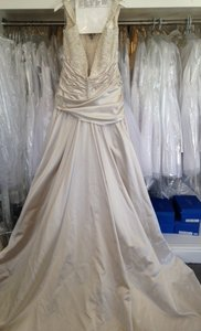 Maggie Sottero Ivory Silver Satin June Formal Wedding Dress Size 14 (L)