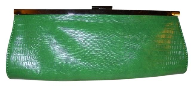 Item - Reptile Embossed Green Faux Leather Clutch