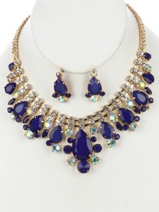 Faceted Stone Teardrop Statement Necklace and Earring Set - White