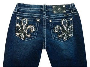 Miss Me Fleur De Lis Sequins Boot Cut Jeans-Medium Wash