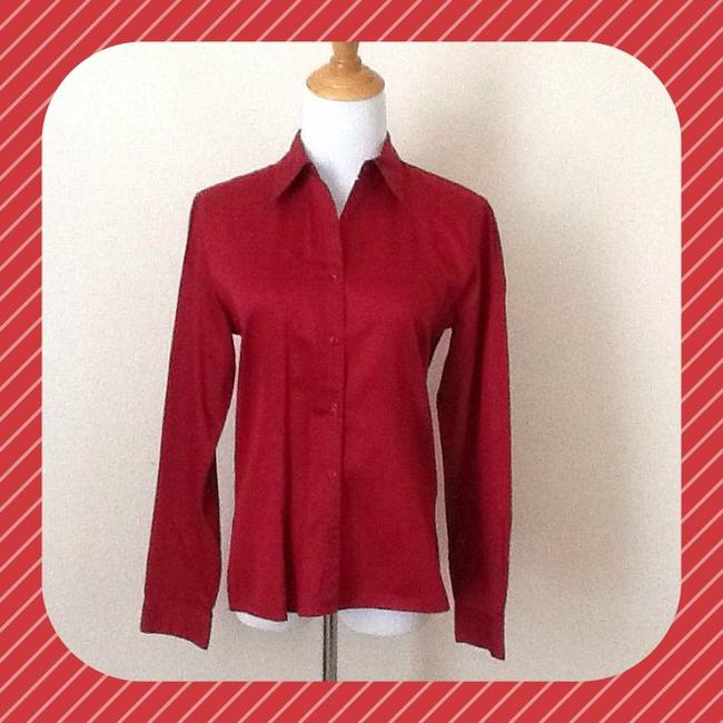 Casual Corner Button Down Shirt Red