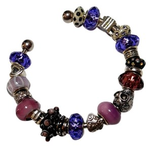 Other Purple Glass Beads Charm Bracelet B079
