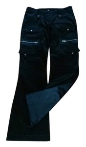 Cache Boot Cut Pants Black with silver zip pockets
