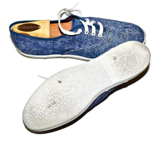 Vintage Sneakers 80s Denim Acid Washed Low Profile Plimsoll Canvas Canvas Cotton Rubber Sole Lightweight Casual Hipster Boho 7 Blue Athletic