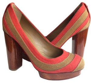 Tory Burch Brown and Red Pumps