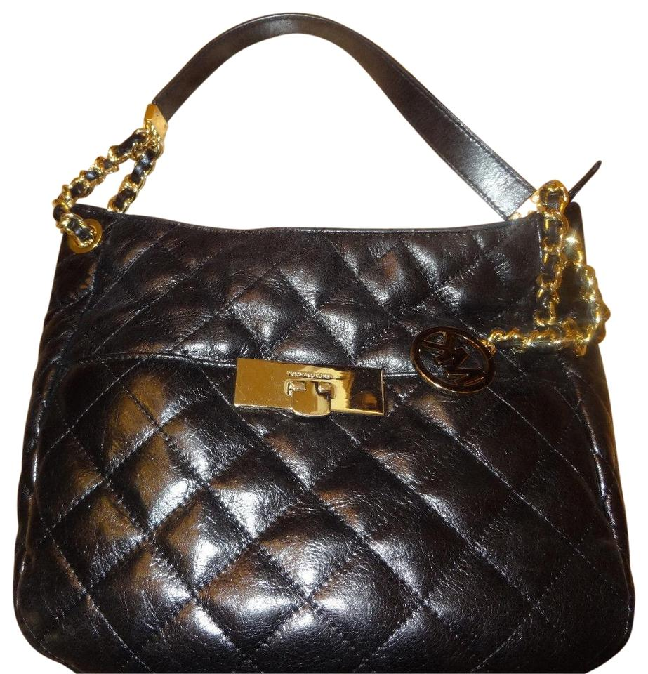 d80106634a81 Michael Kors Mk Medium Susannah Lock Purse with Gold Black Quilted Leather  Shoulder Bag - Tradesy