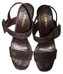 Prada Chocolate Brown Suede Platforms