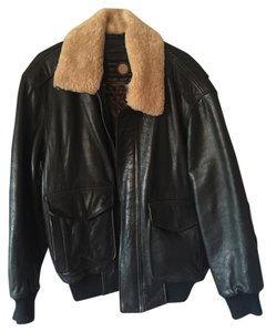 Andrew Marc Black w/ Brown Stitching Leather Jacket