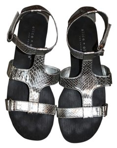 Alice + Olivia Classic Silver Snake Print Sandals