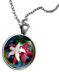 Other Pink Starfish Cabochon Necklace Silver Tone New J1710