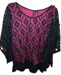 New Directions Lace Lace Type Top Pink and Black