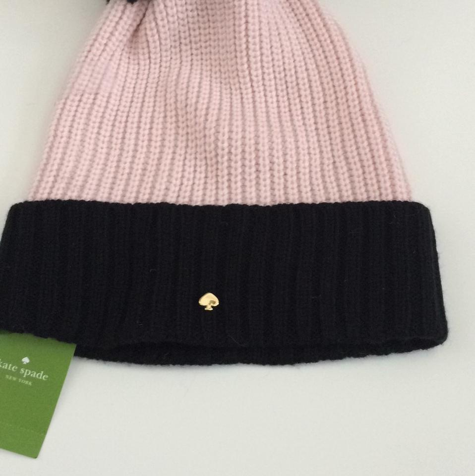 899dc277334e9 Kate Spade Dusty Pink   Black New York Blocked Beanie Hat with Pom On Top  Hat - Tradesy