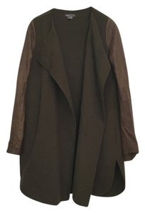Vince Leather Wool Brown Pea Coat
