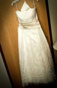 Casablanca Ivory with Champage Sash 1971 Vintage Wedding Dress Size 14 (L)
