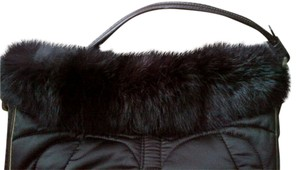 Coach Fur Collar Leather Trim Shoulder Bag